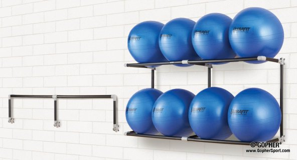 Wall mounted space saver blue stability ball rack