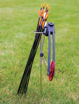Standing steel quiver for arrows and bow