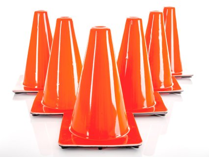 "Heavyweight Vinyl Cone - 12""H, Orange, Set of 6"