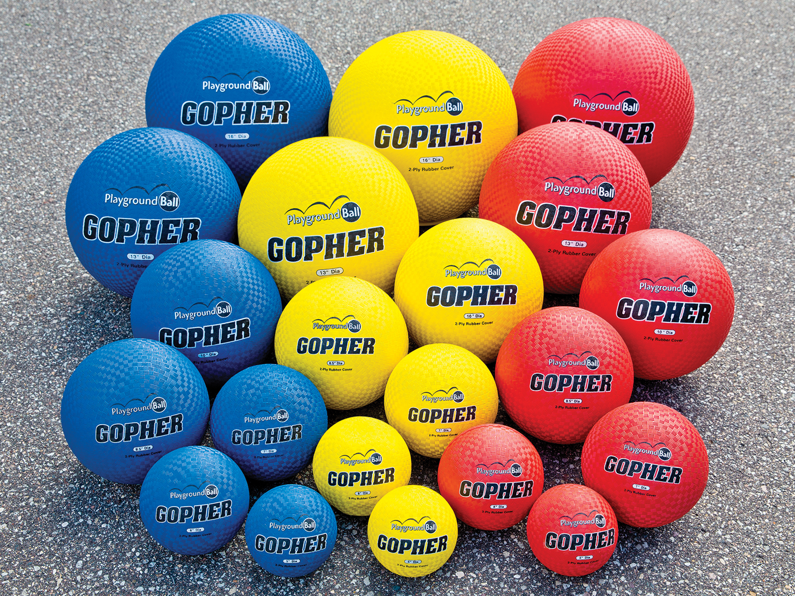Complete set of gopher playground balls in blue, yellow and red