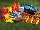 Flag football pack with quick-release belts, pinnies, vests, shirts, cones, whistles, stopwatch, coaching book and storage bag