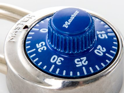 Close up of dial on blue master lock
