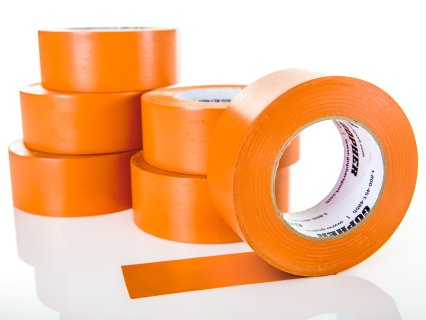 "Deluxe Vinyl Floor Tape - 180'L x 2""W, Orange, Set of 6"