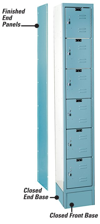 Six tier single-wide green mist lockers
