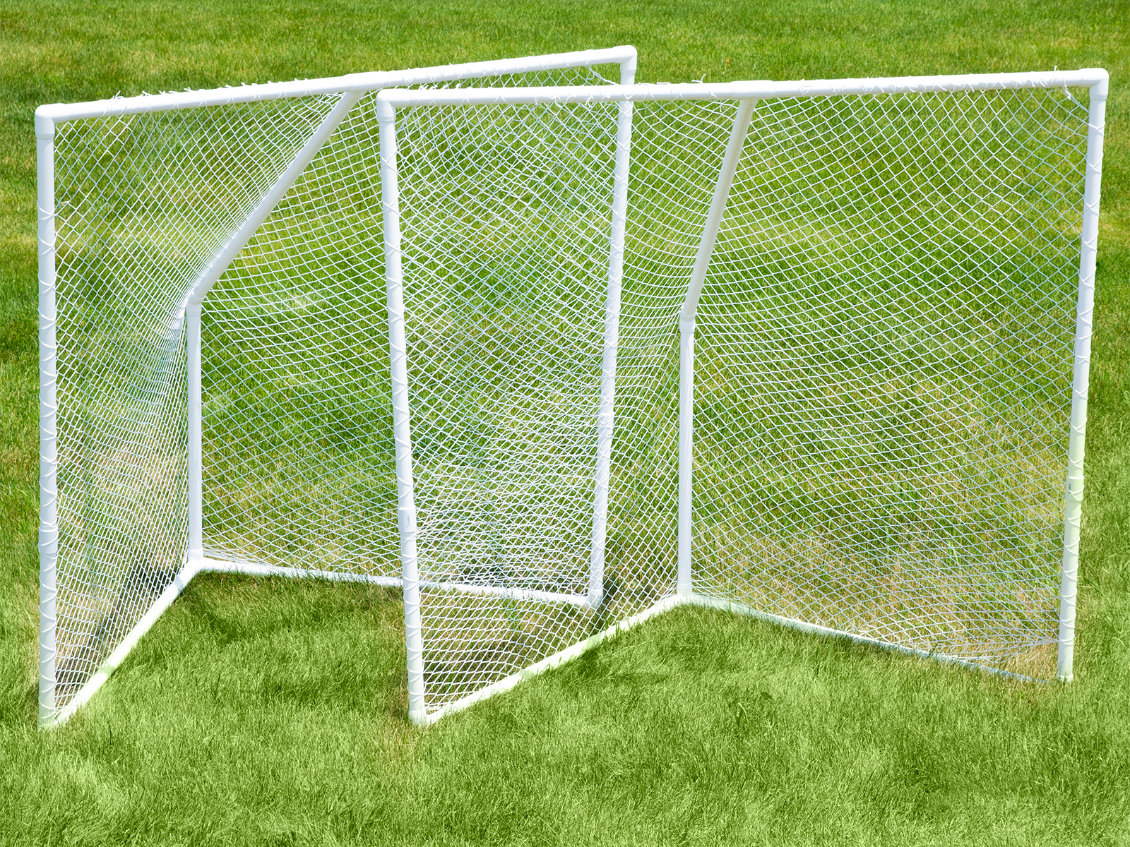 Durable PVC goals withstand outdoor use