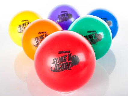 Rainbow colored set of 6 sling 'n score balls