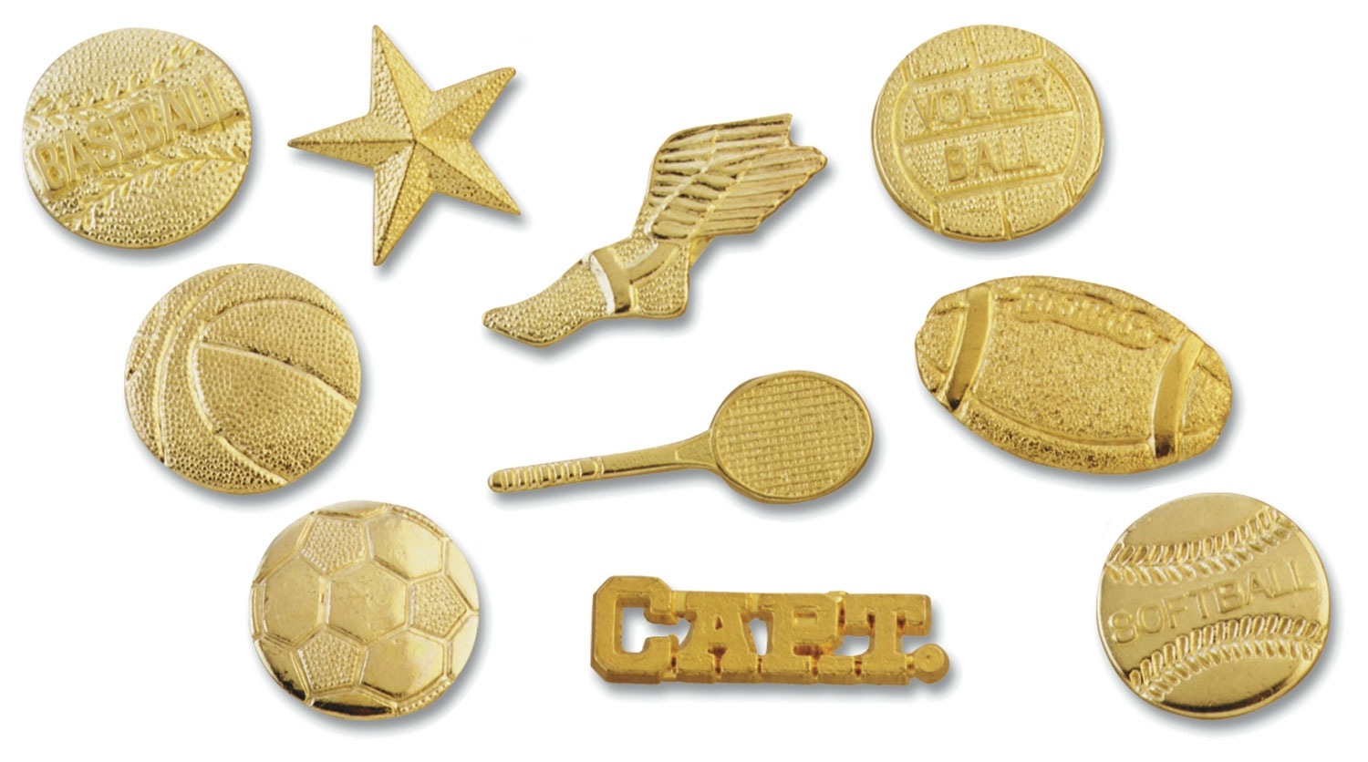 Full view of gold award pins