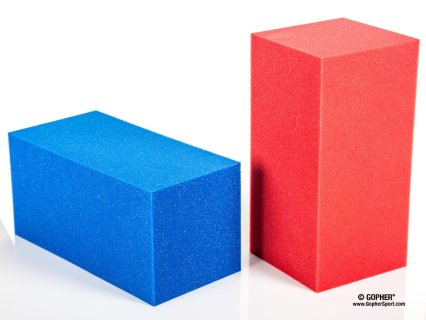 Includes 72 foam blocks (36 Blue, 36 Red)