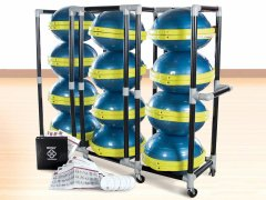 Bosu complete workout system with dvds, charts, trainers, and storage cart