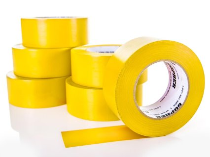 Deluxe Vinyl Floor Tape - 180'L x 3''W, Yellow, Set of 6