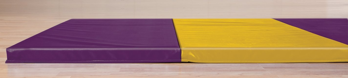 Purple and gold intermediate gymnastics mat