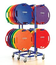Rainbow circle scooters on storage cart