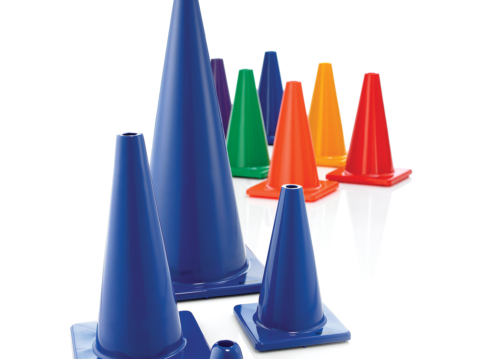 Size options for rubber vinyl marker cones