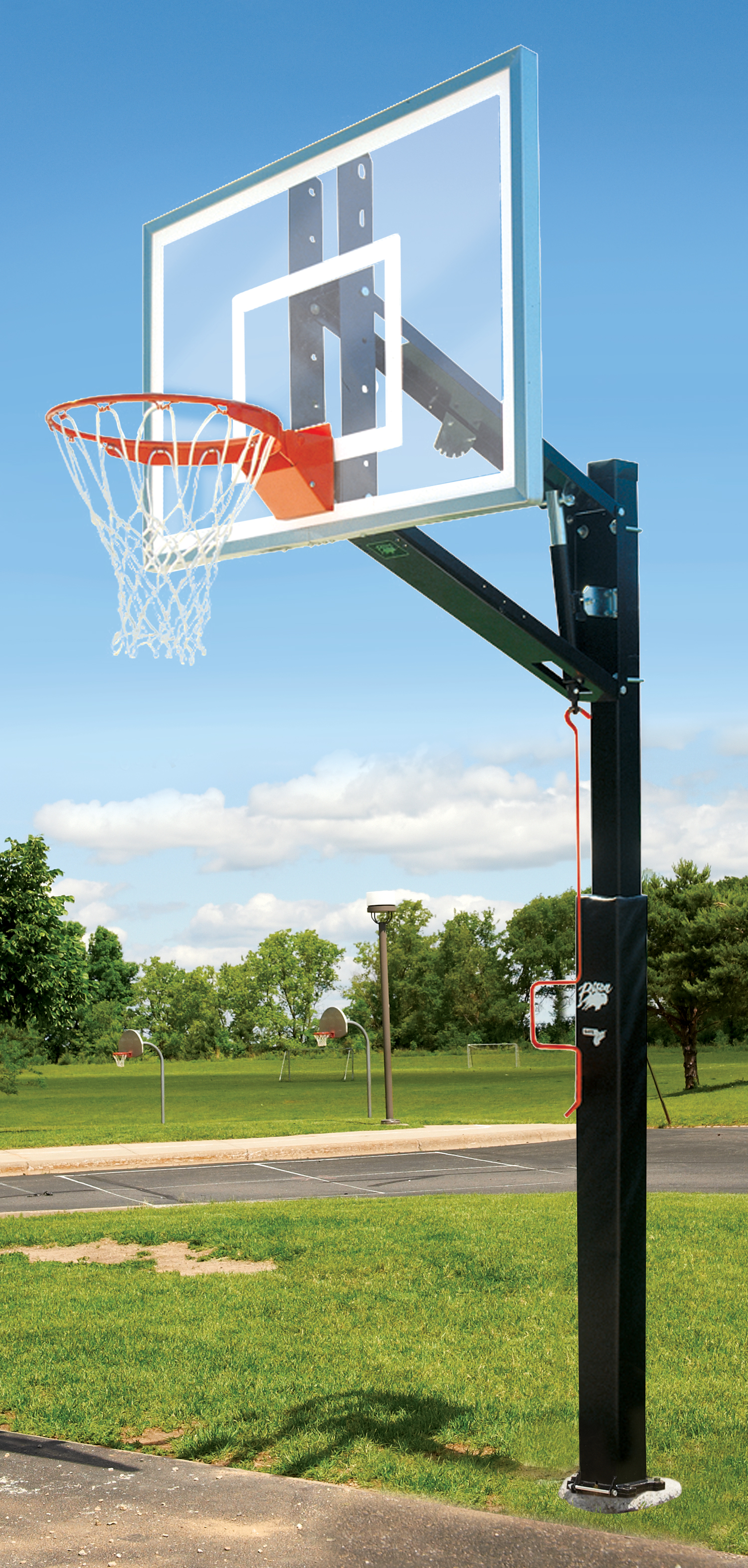 Adjustable bison zip crank basketball hoop