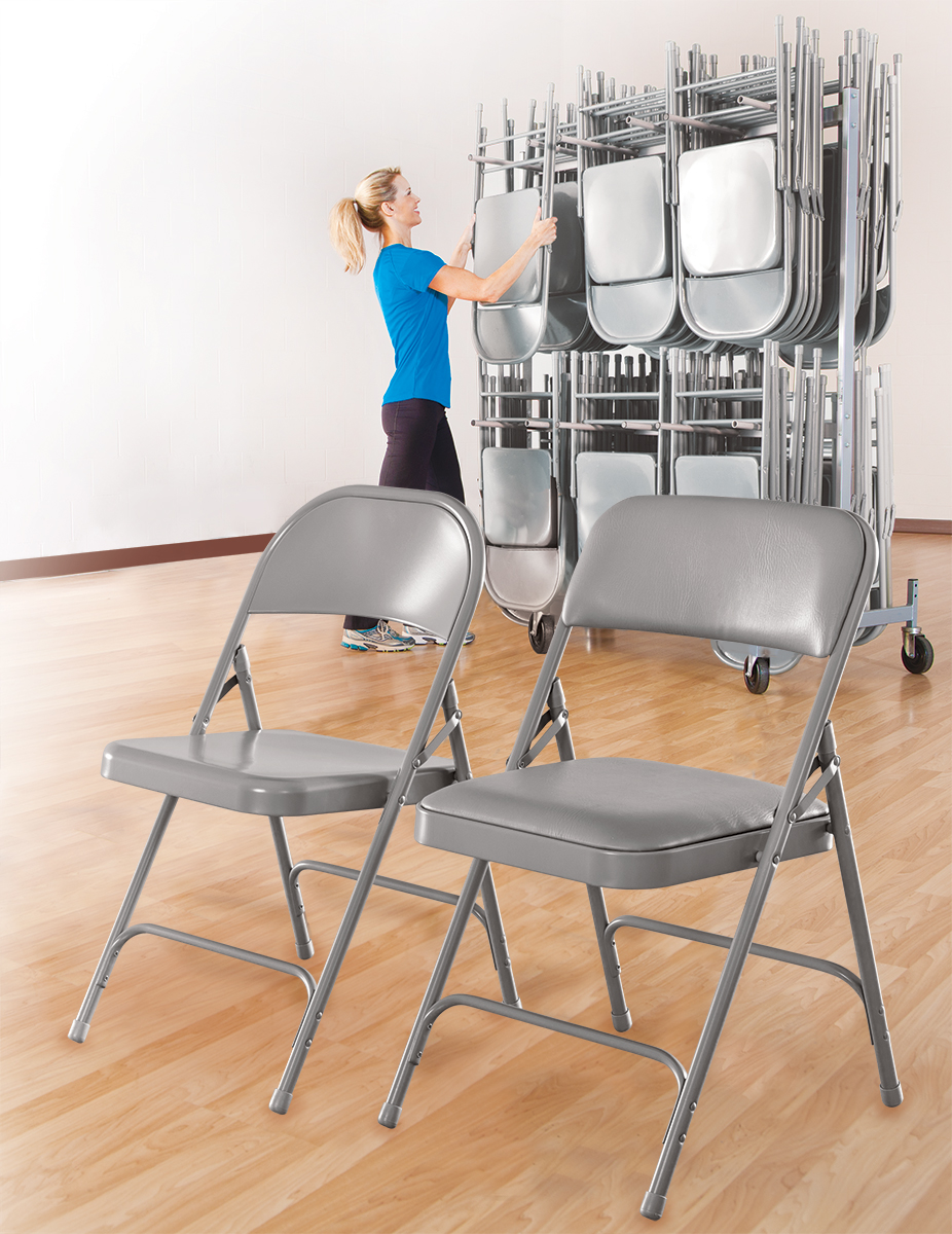 Set of steel folding chairs