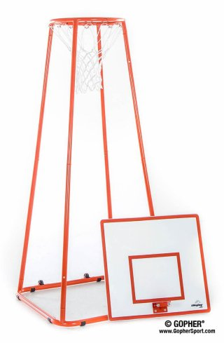 Orange alleyoop basketball stand and backboard disconnected
