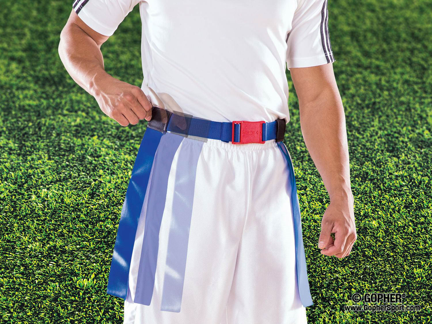 Man wearing magnetic clasp flag belt