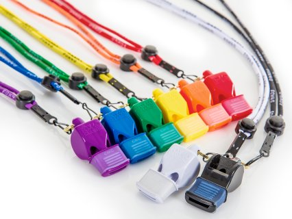 Rainbow Plus Fox 40 Classic Pealess Whistles w/ Mouth Grip - Set of 8