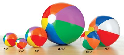 Various sized blow up beach balls