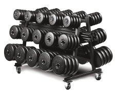 Complete barbell set with storage cart