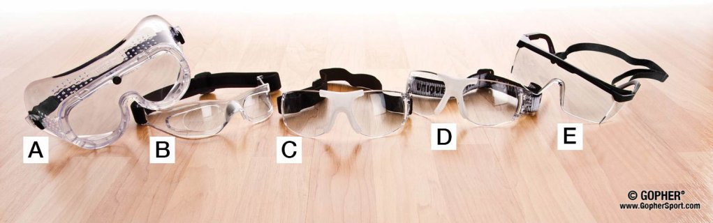 Various different eye guards