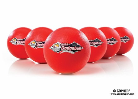 Set of size 7 red coated-foam dodgeballs