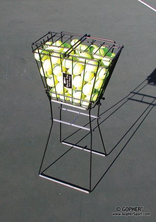 Basket filled with tennis balls
