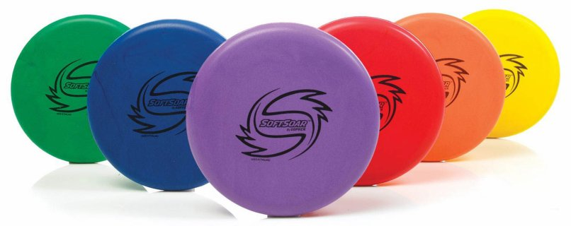 Rainbow set of soft 8 inch frisbees