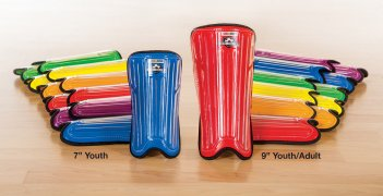 "Rainbow set of 7"" youth and 9"" adult shin guards"