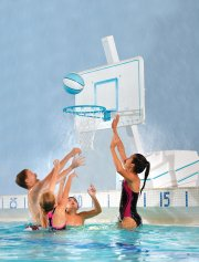 Kids playing with basketball hoop for pool