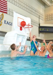 Deck-mount pool basketball hoop