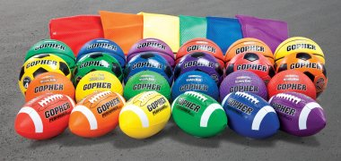 Complete set of rubber rainbow colored balls