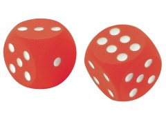 Pair of red and blue foam dice