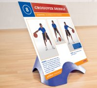 Single basketball training instruction card on stand