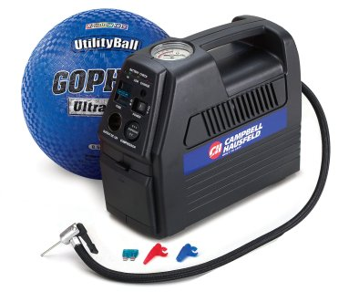 Portable ball inflator that can be recharged