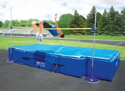 Person jumping over high jump