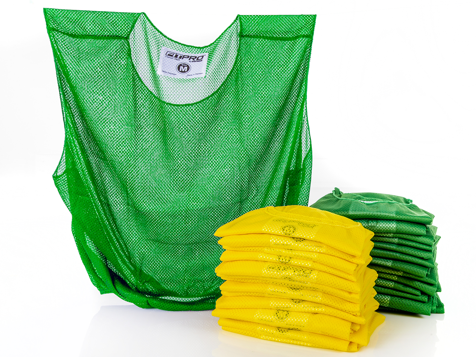 Medium set of 30 mesh yellow and green vests