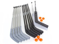Gray 12-player hockey stick set