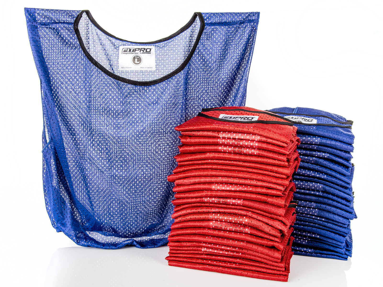 Set of 50 large blue and red pinnie vests