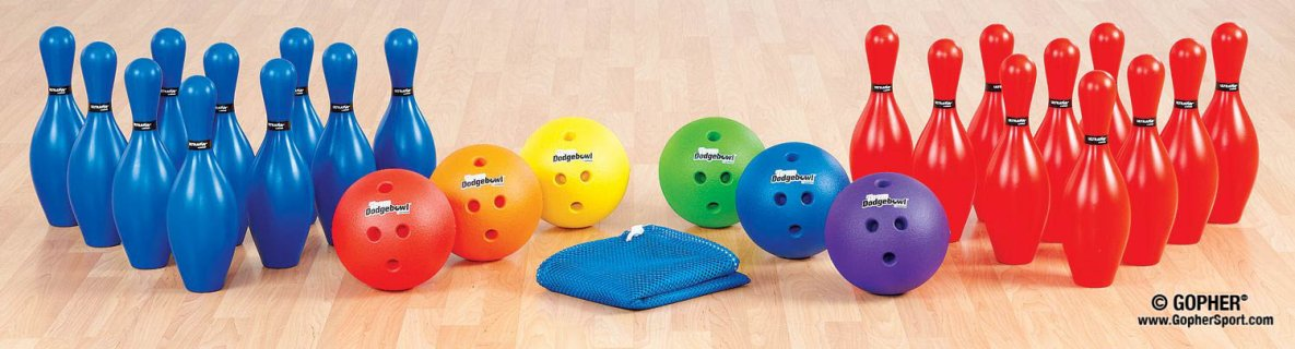 Rainbow colored dodgebowl bowling set