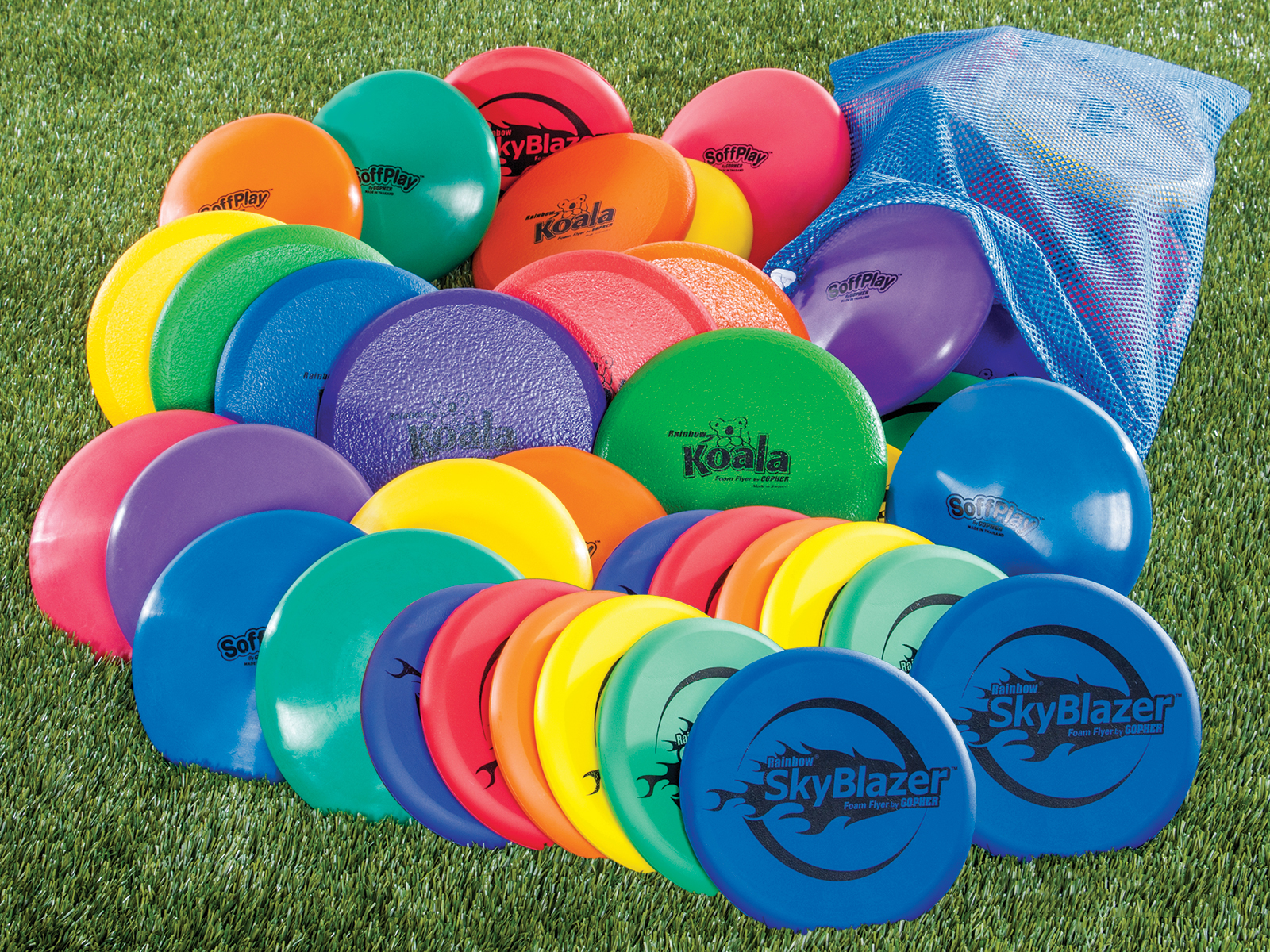 Rainbow set of soft bonanza frisbees