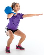 Girl doing exercise with weight