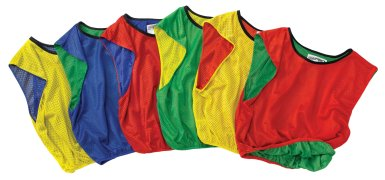 Set of rainbow colored reversible vests