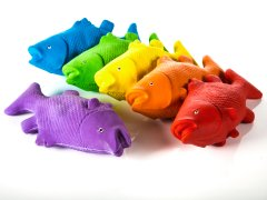 "Rainbow Rubber Critters - Fish, 14""L, Set of 6"