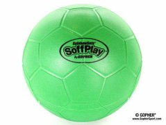 360° view of green soffplay soccer balls