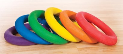 6 rubber rainbow rings