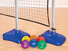 Blue standard portable volleyball net with set of 6 rainbow balls