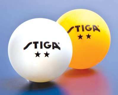 Yellow and white Stiga 2 Star table tennis balls