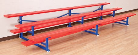 Close up view of red and blue colored bench