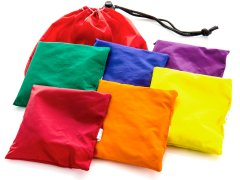 "Rainbow Nylon-Covered Beanbags - 4"" sq, Set of 6"